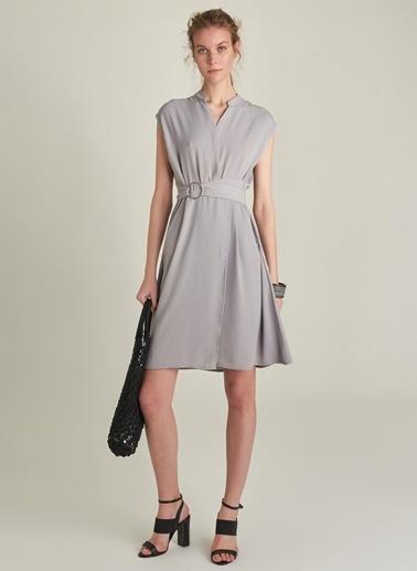 Ng Style Kuşaklı Kapamalı Elbise Gri